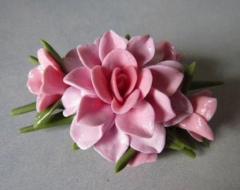 Pink Cold Porcelain Floral Pin