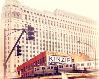 Chicago CTA Photograph, Kinzie, train photograph, Chicago Wall Art Print, Merchandise Mart, Urban Decor, red, beige, blue, boys room decor