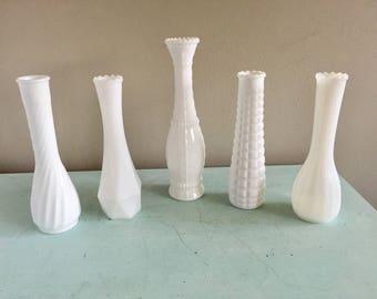 Vintage milk glass vase collection wedding vases set of four milkglass vases