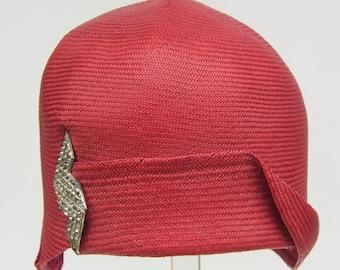 Vintage 1920s Red Panama Flapper Womans Cloche Hat