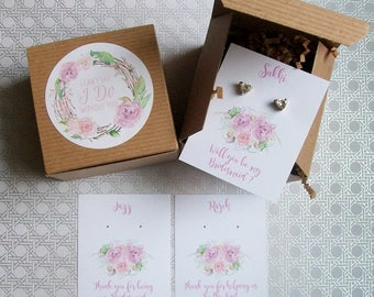 Will You Be My Bridesmaid Favor, Maid of Honor Gift Box, I Cant Say I Do Without You Mauve Pink Lilac RUSTIC BOHO Cards, Recycled Paper Fill