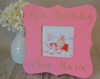 Birthday picture frame, custom picture frame,  picture frame, birthday gift, personalized picture frame, kid's picture frame