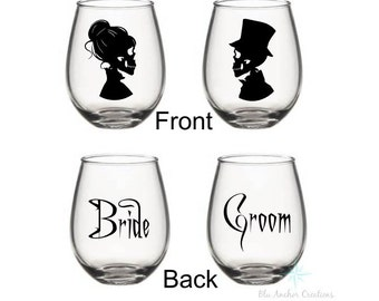 Skull Bride And Groom Wine Glasses, His and Hers Glasses, Skull Wedding, Wedding Gift, Bridal Shower Gift,  Skull Wedding, Skull Wine Glass