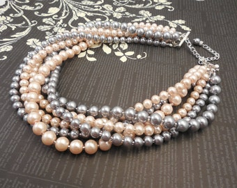 Very Elegant Wedding Bridal Multi Strand Choker Style Necklace with Pewter(Light Gray) and Blush Peachy Pink Glass Pearls