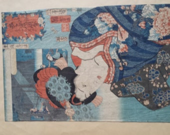 Wanting to See How One Looks (Original Print) by Utagawa Kuniyoshi