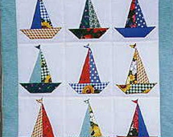 Sailboat Wall Quilt Pattern Wall Hanging Wall Art Sailboat Quilt Pattern Applique Pattern  Wall Quilt Kitchen ~ a PDF Digital Download