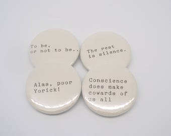 Hamlet - Shakespeare Quote - Pin Button Badges x 4 Quotes