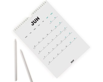White Out 2018-19 Mid-Year Monthly A4 Wall Calendar