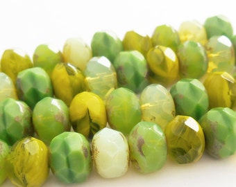 10 - Lemon & Lime Mix 9x6mm Faceted Rondelle, Czech Picasso Glass Beads, Mixed Color Strand, Multi-color, Monkeyshine Beads