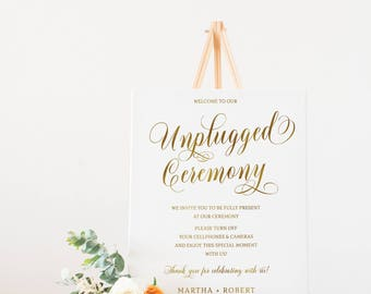 Gold Unplugged Ceremony Sign, Unplugged Wedding, No cell phones Sign, Wedding Ceremony Sign, Wedding Reception, Wedding Decor  #S727