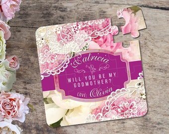 Will You Be My Godmother Puzzle. Godmother gift. Ask Godmother Invitation Baptism Card Christening Baby Asking Godparents Puzzle Invitation