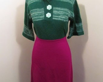 Vintage 1960s cranberry red A line xl skirt