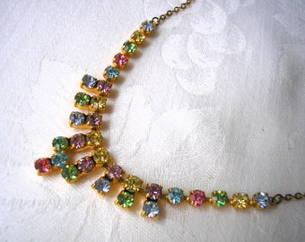 Rainbow Rhinestone Necklace, Vintage, Art Deco Style, 1950s, Party Necklace, Prom Jewelry, Sparkly Necklace, Prom Jewelry, Christmas Jewelry