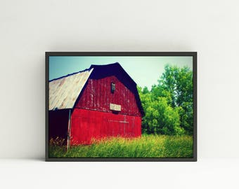 Red Barn Photography - Digital Download - Red Barn Print - Rustic Red Barn Farm Photography