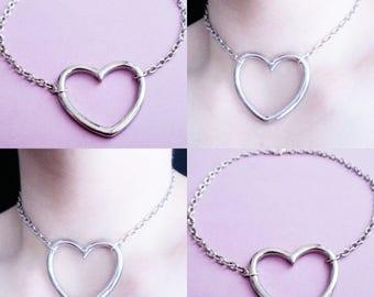 heart choker necklace - ring choker - pastel goth - kawaii - pastel grunge