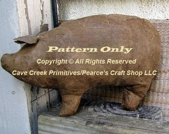 Primitive Pig Pattern, Animal Patterns, Primitive Pigs, Pig Patterns, Primitive Animals, Doll Patterns, Primitive Dolls, Sewing Patterns