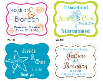 36 - 3x4 inch Die Cut Custom Destination Beach Wedding Waterproof Labels - many designs to choose - change designs any color, wording etc