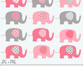 Pink and Grey Baby Elephants Clip Art Set  / Elephant Illustration / Printable Clip Art / Commercial / Modern Art / Pink
