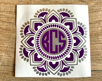2 Color Mandala Monogram, 2 Color Mandala Decals, Mandala Monogram, Mandala Monograms for Yeti's, Monograms for Cups, Personalizing Sticker