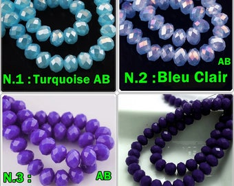 4 color choices: Pearl 6 mm x 4mm rondelle's faceted Turquoise / Blue / Blue / Midnight blue glass 6 mm x 4mm faceted rondelle Perle