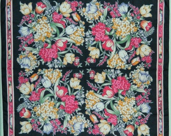 """80s Floral Print Scarf 27"""" Large Square Scarf Bold Black Red Gold Green"""