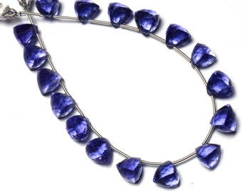 "Iolite Color Hydro Quartz Faceted 8MM Approx. Trillion Shape Briolette Beads 8"" Full Strand Super Fine Quality Beads Water Sapphire Color"