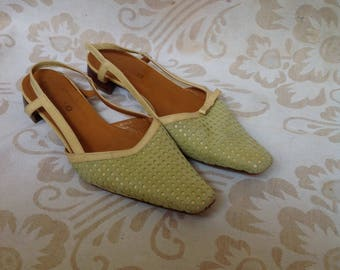 Green Pointy Slingback Flats Green Slides Mules US 6 EU 37 UK 4