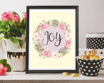 Joy Wreath - Printable - Instant Download - Artwork for Your Home - Floral Watercolor