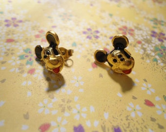 2 Pairs of Disney Goldplated Hand Painted Mickey Mouse Earrings