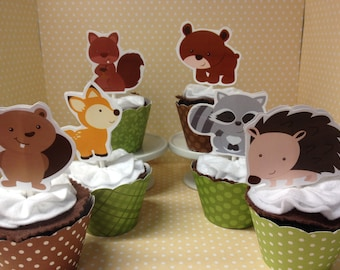 Forest Woodland Birthday Party or Baby Shower Cupcake Toppers Decorations set of 10