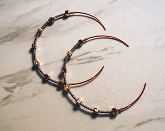 Mixed metal, wire-wrapped earrings