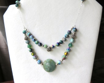 Jade Bib Necklace, Multi Strand Necklace,  Blue Green Gemstones, Mountain Jade, Sterling Silver, Unique One of a Kind Gift for Her