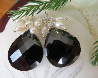 Black Spinel Earrings, Pearl Earrings, Faceted Earrings, Drop Earrings, Sterling Eilver Earrings,  Dangle Earrings, Heart Briolette Earrings