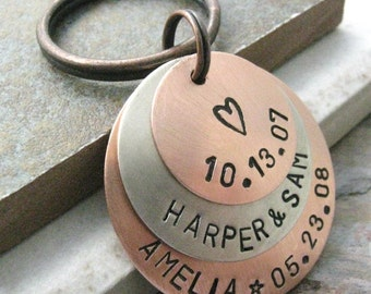 Personalized Family Keychain 3 Layers Hand Stamped Customized Great for Mom or Dad Customization Available with 9 metal choice