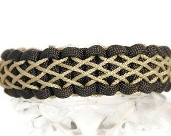 Laced Bracelet, Stitched Paracord Bracelet, Woven Bracelet, Celtic Bracelet, Gold Bracelet, Micro Cord, Diamond Pattern, Intricate