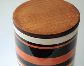 Striped vintage canister - orange and black - made in Italy