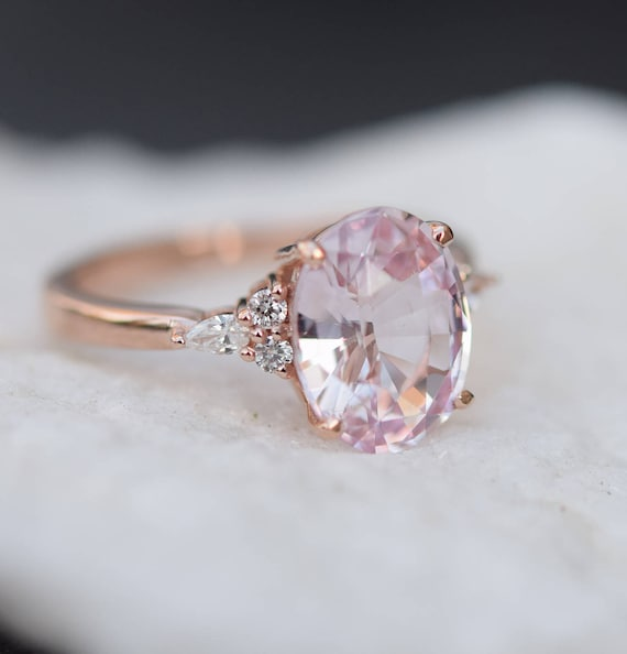 custom diamond rings engagement pink ring and sapphire