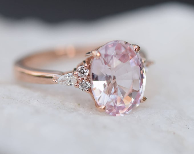 Featured listing image: Blush sapphire engagement ring. Light peach pink sapphire 3.2ct oval diamond ring 14k Rose gold. Campari Engagement ring by  Eidelprecious