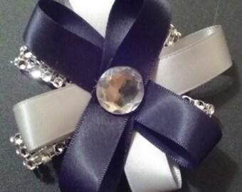 Black and Silver Diamond Bow