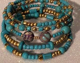 Natural Jasper beads with Turquoise and Gold glass beads on memory wire