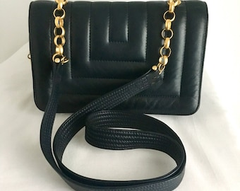 Vintage Quilted Navy Leather Bag with Gold Chain Strap by Jay Herbert by Sharif