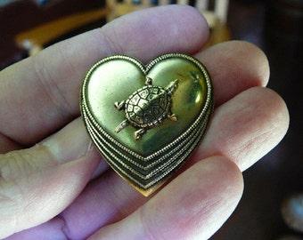 little turtle lover turtles on heart design Victorian repro brass pin pendant B-Turt-200