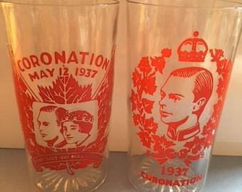 2 Glasses 1937 Coronation Drinking Glass Tumbler George VI Queen Elizabeth