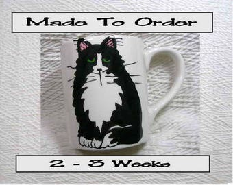 Black & White Tuxedo Cat Mug Made To Order Original Handmade With Paws Prints On Back
