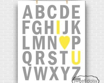 ABC Print, PRINTABLE I Love You Alphabet Digital Print, Digital I Love You Artwork, Wall Art, I love You Wall Art for house, Cute Custom Art