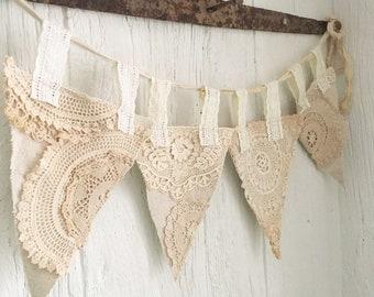 Vintage grain sack doily garland banner/ lace bunting/ farmhouse/ neutral/ primitive antique