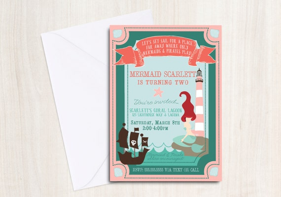 Mermaid & Pirate party Invitation - Pool party Invitation- under the sea - little mermaid - party supplies