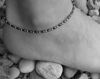 SIMPLICITY hematite anklet, 4 mm hematite beads, stainless steel beads and finishing,steel anklet, stone steel, summer, elegant anklet