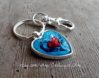 Zelda keychain Legend of Zelda piece of heart keyring heart container ocarina jewelry birthday gift necklace handmade glass pendant cabochon