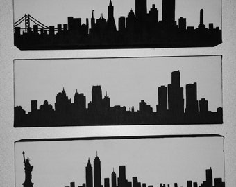 City Skyline Silhouette Canvas Paintings